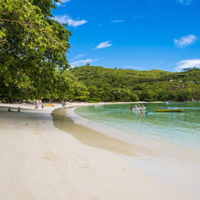 """Port Launay beach, Port Launay marine Park, Mahe, Republic of Seychelles,..."" stock image"