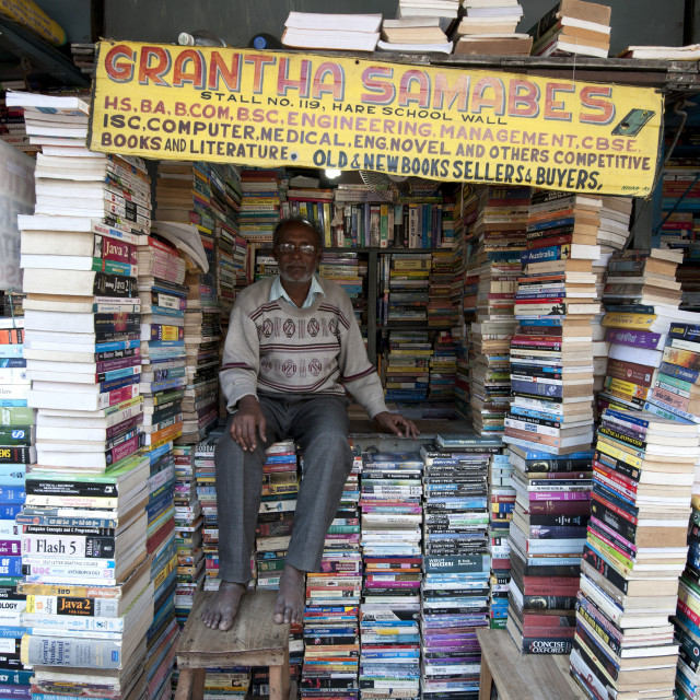 """Bookstall holder in College Street, the world's largest secondhand book..."" stock image"