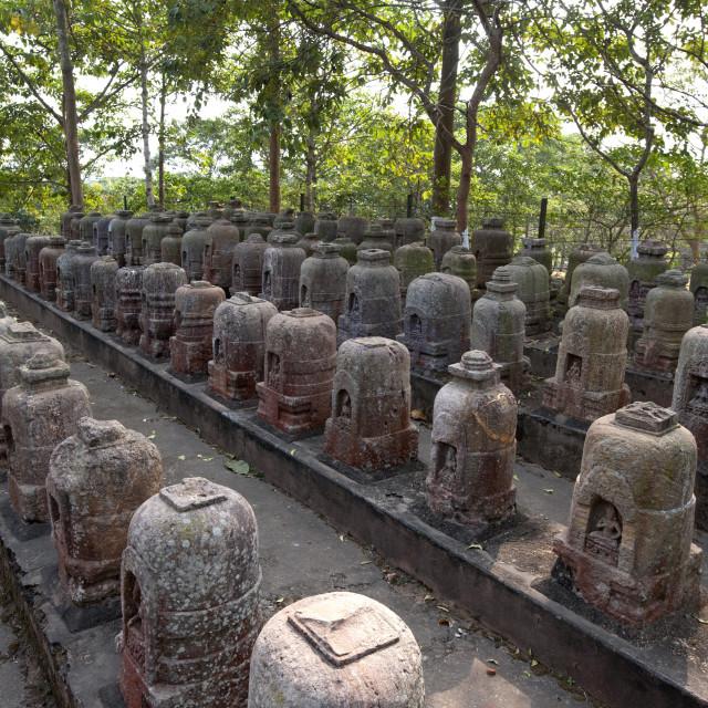 """Stone votive stupas found at the site of 5th century Ratnagiri monastery by..."" stock image"