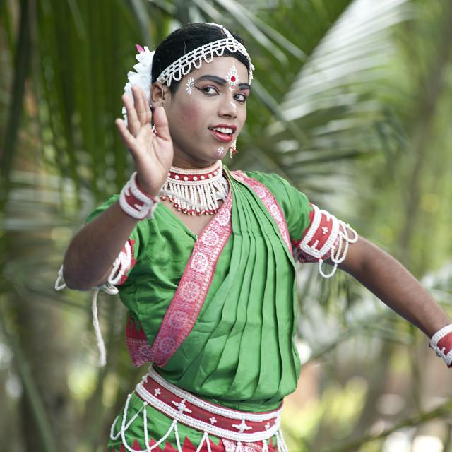 """Young boy performimg Gotipua dance, the traditional folk dance of Odisha..."" stock image"