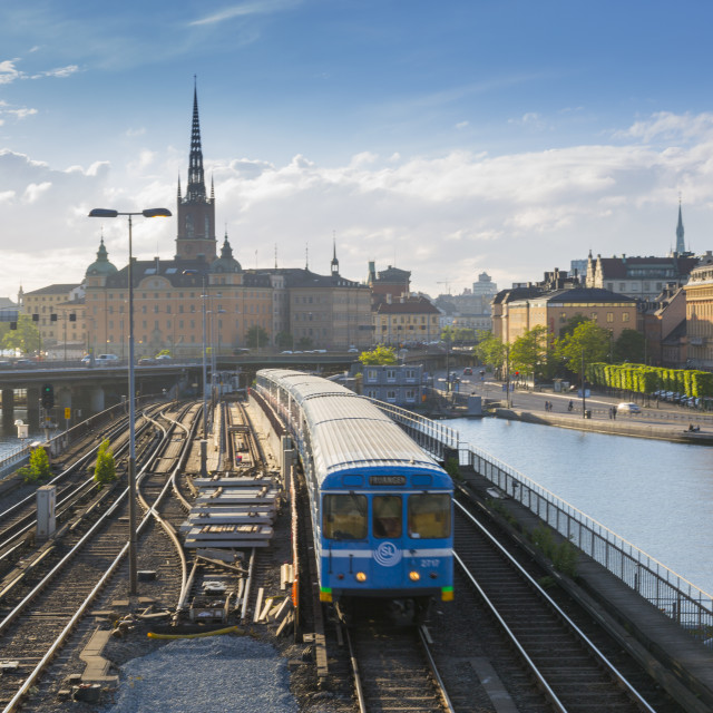 """Riddarholmen Church and train from Sodermalm, Stockholm, Sweden, Scandinavia,..."" stock image"