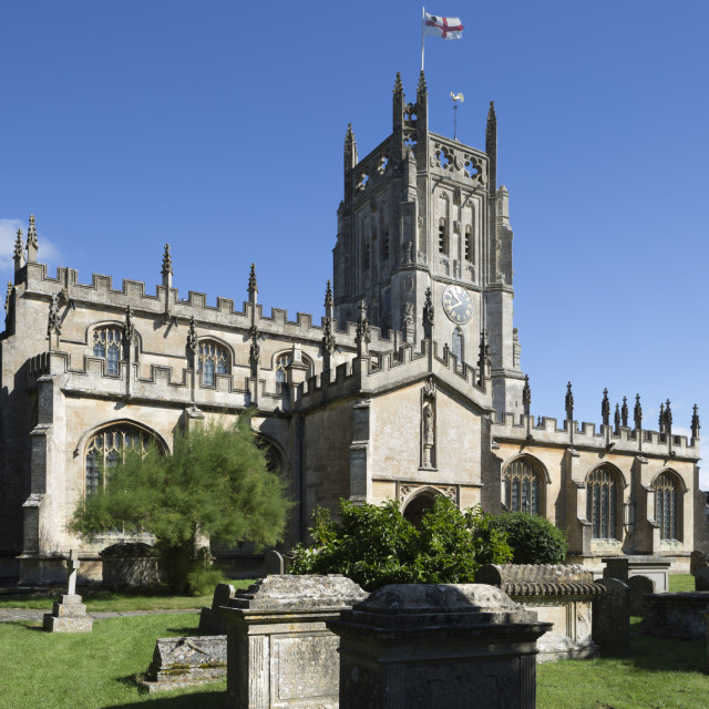 """St Mary's Church, Fairford, Cotswolds, Gloucestershire, England, United..."" stock image"