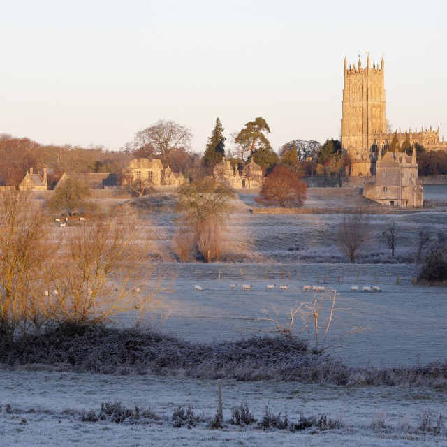 """St James' Church and town on frosty morning, Chipping Campden, Cotswolds,..."" stock image"