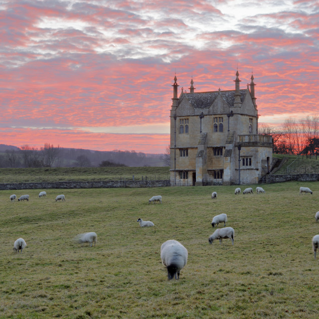 """Banqueting House of Campden House and sheep at sunset, Chipping Campden,..."" stock image"