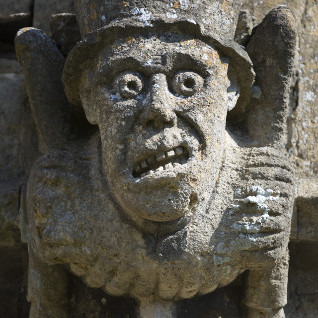 """Gargoyle on St Peter's Church, Winchcombe, Cotswolds, Gloucestershire,..."" stock image"