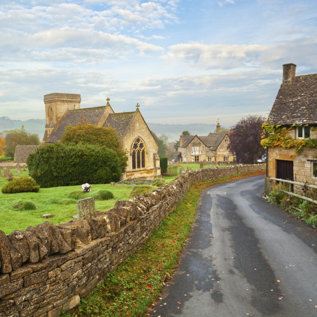 """St Barnabas church and Cotswold village in Autumn, Snowshill, Cotswolds,..."" stock image"