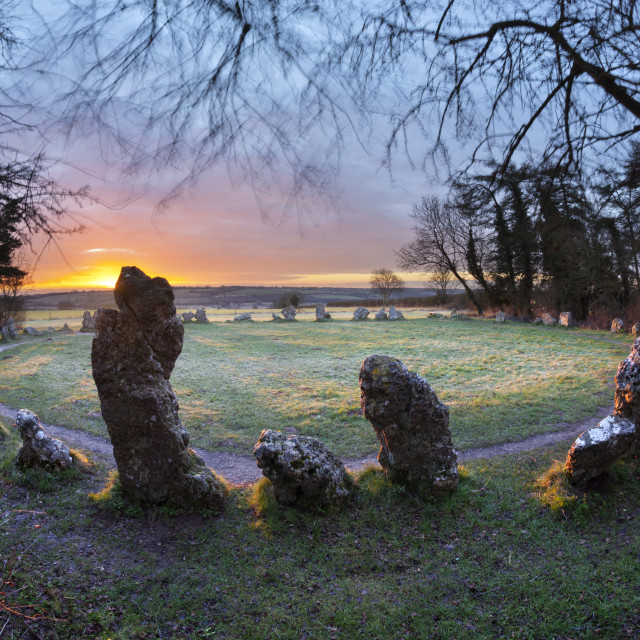 """The King's Men stone circle at sunrise, The Rollright Stones, Chipping..."" stock image"
