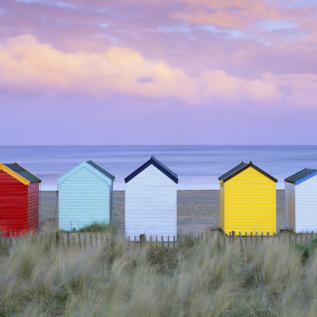 """Colourful beach huts and sand dunes at sunset, Southwold, Suffolk, England,..."" stock image"