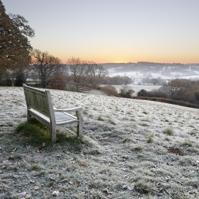 """Wooden bench and view over Sussex landscape at sunrise in frost, Burwash,..."" stock image"