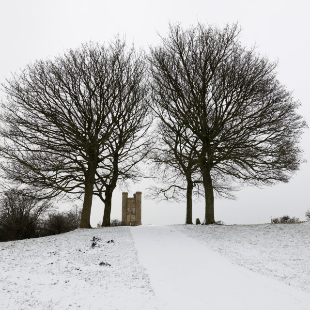 """Broadway Tower framed by bare trees in snow, Broadway, Cotswolds,..."" stock image"