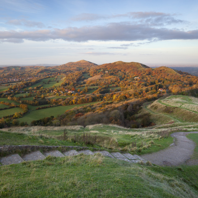 """Iron-age British Camp hill fort and the Malvern Hills in Autumn, Great..."" stock image"