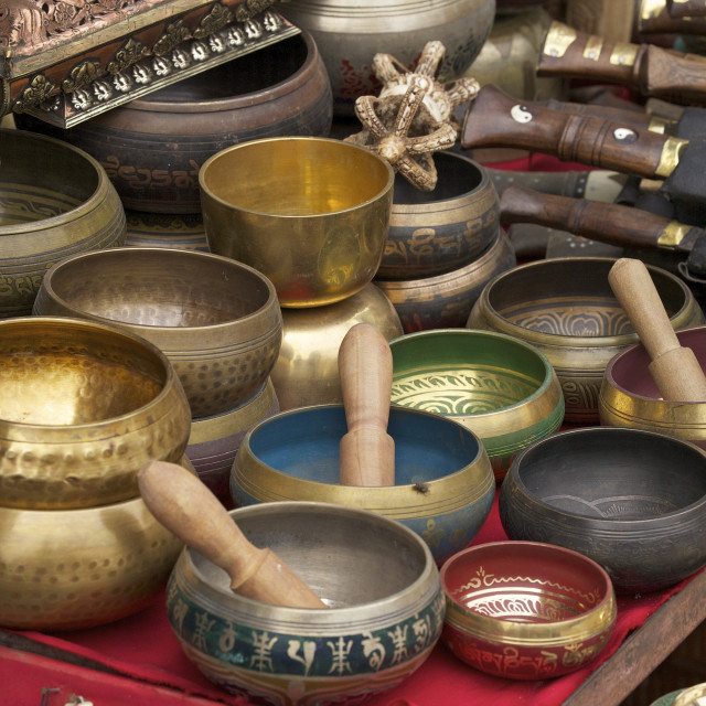 """Singing bowls on sale at Swayambhunath Stupa (Monkey Temple), Kathmandu,..."" stock image"