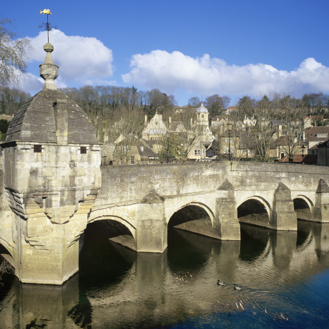 """The Town Bridge over the River Avon, Bradford on Avon, Wiltshire, England,..."" stock image"