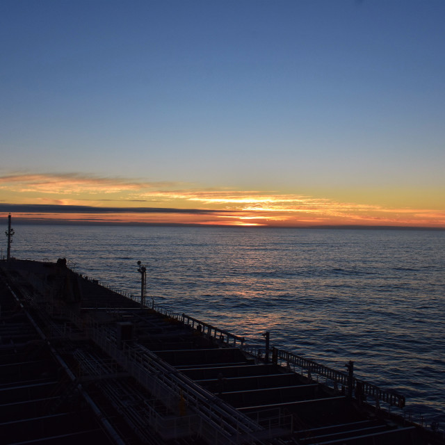 """""""Sunset with ship"""" stock image"""