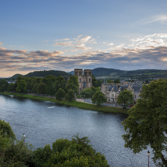 """Inverness, Scotland - August 14, 2010: View of the city of Inverness from the banks of the Ness River in Scotland, United Kingdom"" stock image"