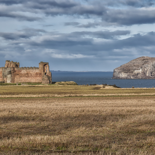 """Tantallon Castle and Bass Rock in Scotland"" stock image"