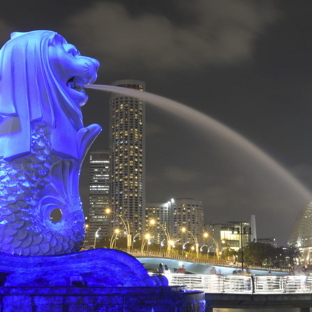 """Light projection on The Merlion"" stock image"