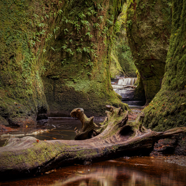 """The Devil Pulpit at Finnich Glen"" stock image"