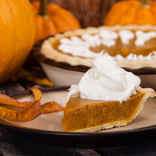 """Slice of pumpkin pie with pumpkins and autumn decorations"" stock image"