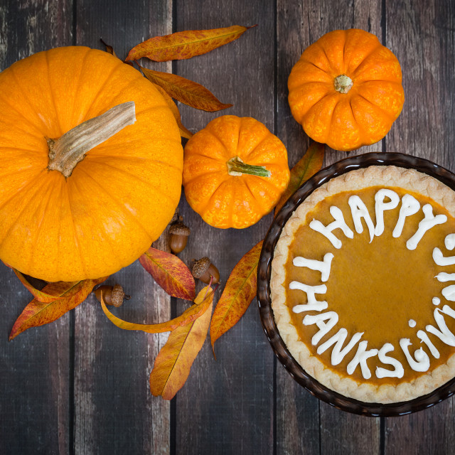 """Pumpkin pie with Happy Thanksgiving text"" stock image"