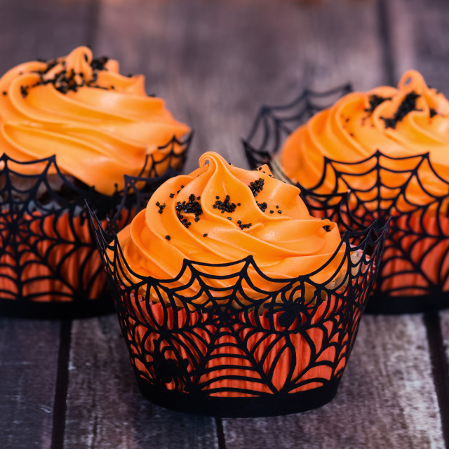 """Orange Halloween cupcakes"" stock image"