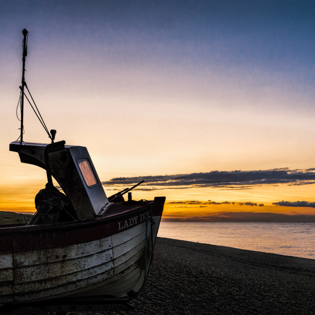 """Boat at Weybourne Beach, Norfolk"" stock image"