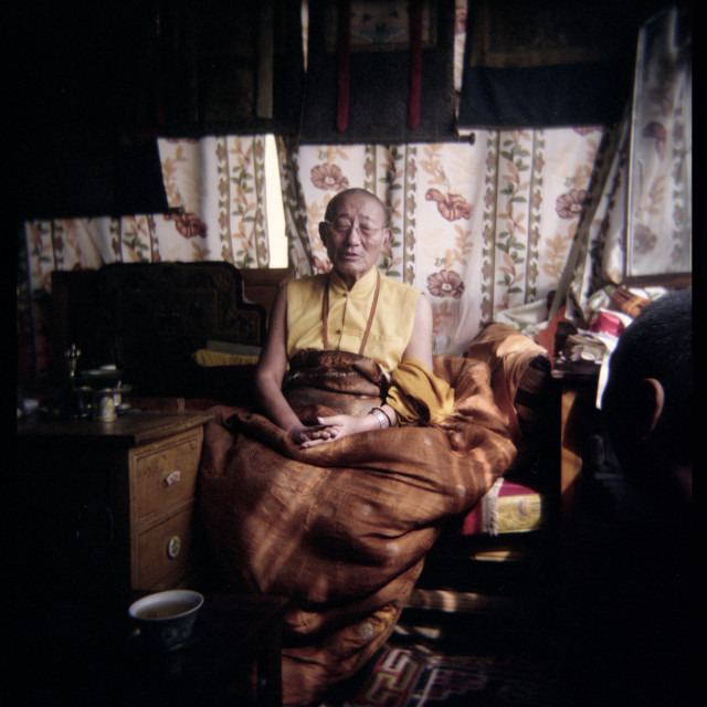 """""""Adeu Rinpoche, Nangchen Gar, Tibet 2005"""" stock image"""