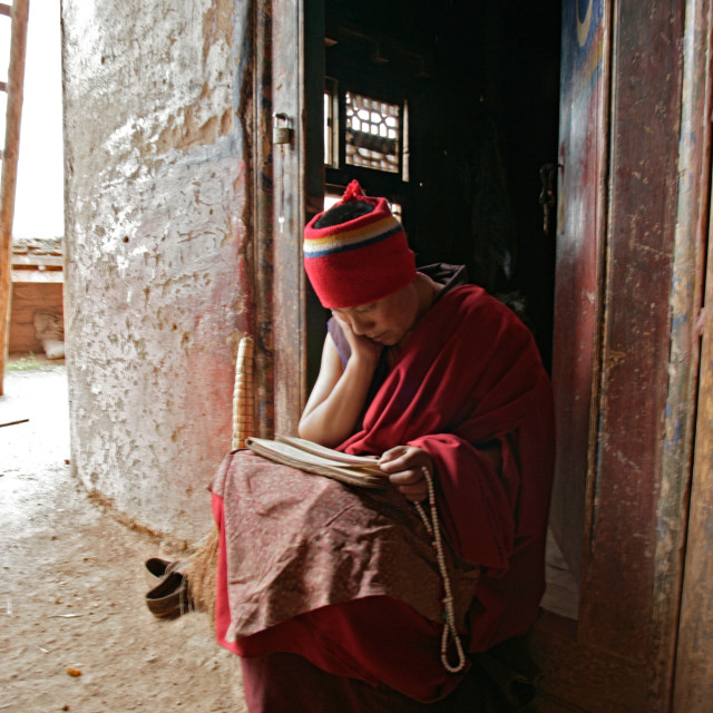 """Nun reading prayer text, Dechenling Nunnery, Nangchen, Tibet"" stock image"