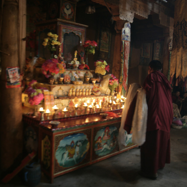 """Nun at Shrine, Dechenling, Nangchen, Tibet"" stock image"