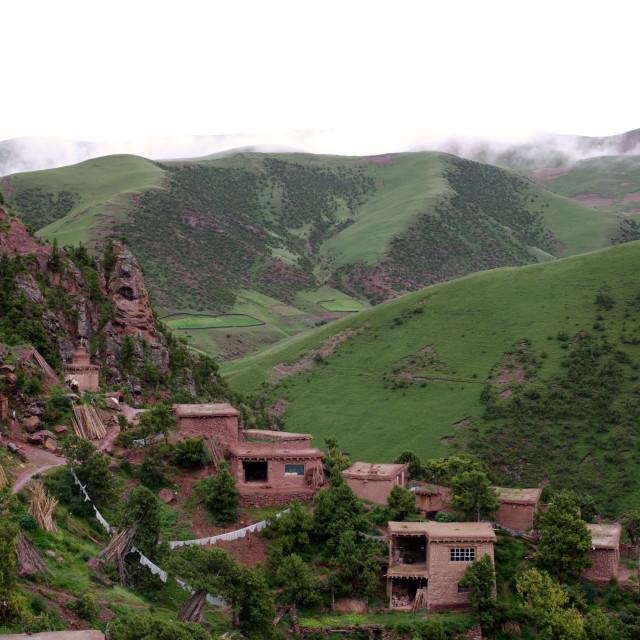 """Dechen Ling Retreat Homes, Nangchen, Tibet"" stock image"