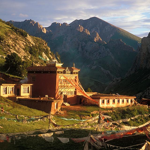 """Fortres Peak, Dzongoling, sunset, Tibet"" stock image"