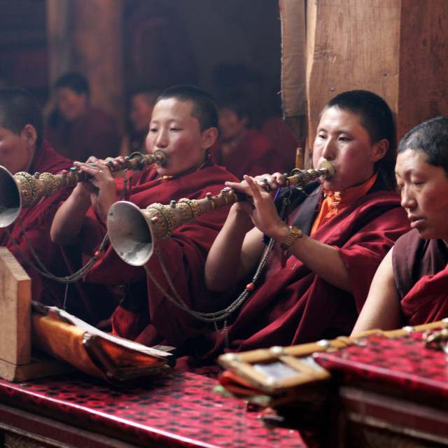 """""""Nuns blowing horns in Puja, Getchak"""" stock image"""