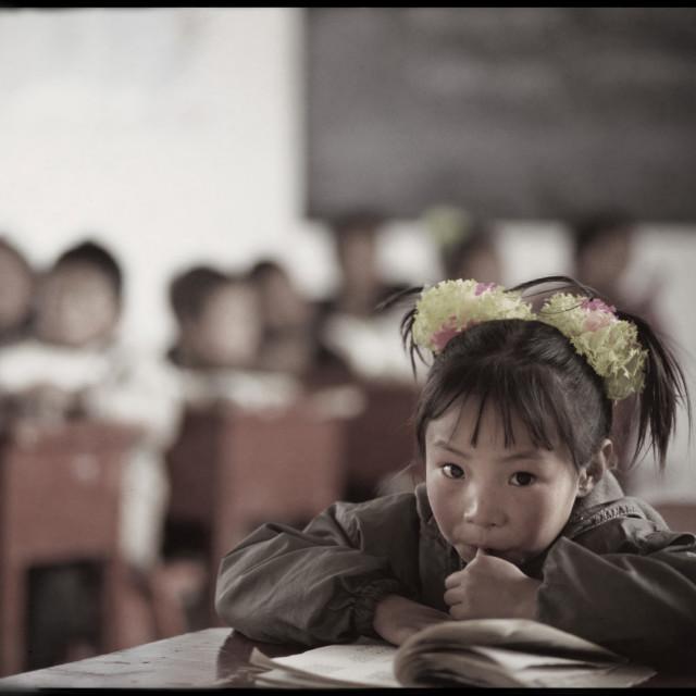 """""""Girl in Nangchen school, Tibet"""" stock image"""