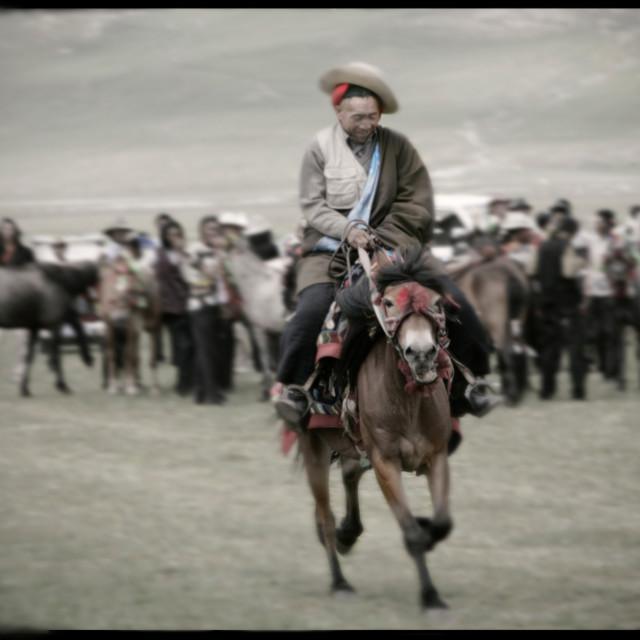 """""""Horse race, Jeykunda, Nangchen, Tibet"""" stock image"""