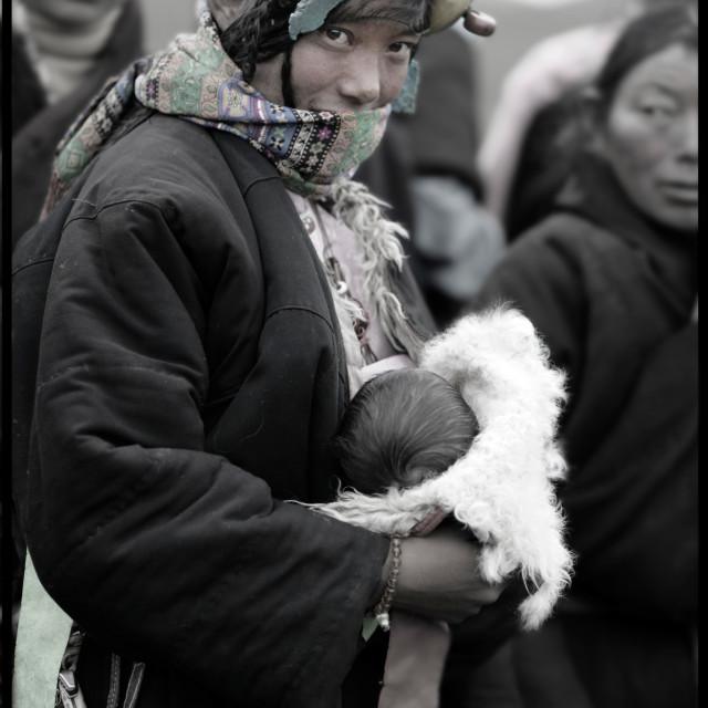 """""""Khampa girl and baby, Tibet"""" stock image"""
