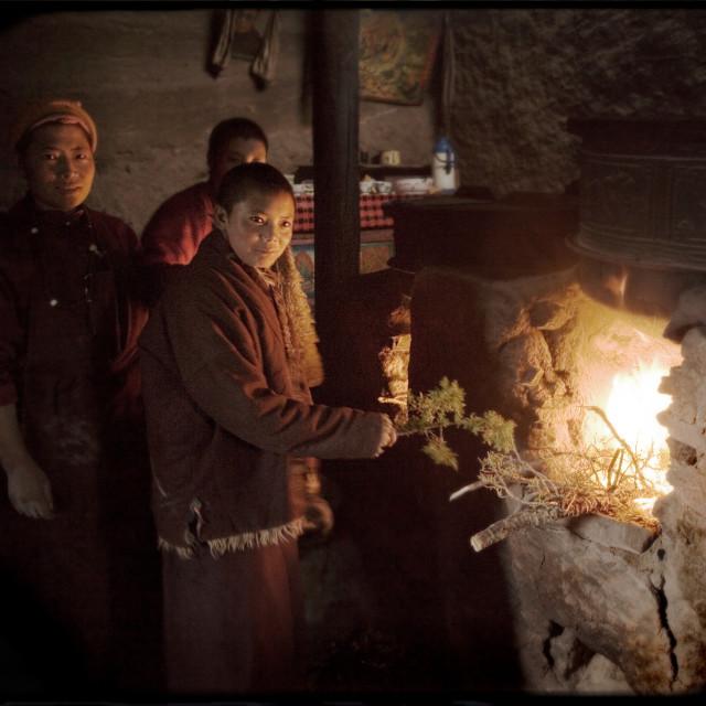 """""""Nuns in Kitchen, Dechen Ling Nunnery, Kham Tibet"""" stock image"""