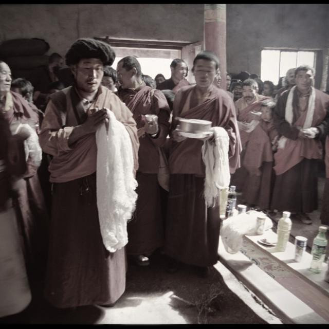 """""""Mandala offering, Monastery, Tibet"""" stock image"""