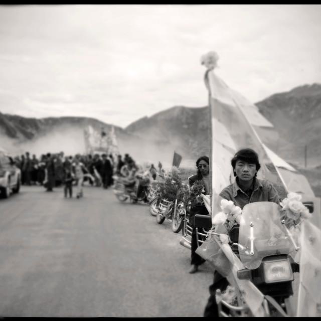 """Motorcycle escort, Kham, Tibet"" stock image"