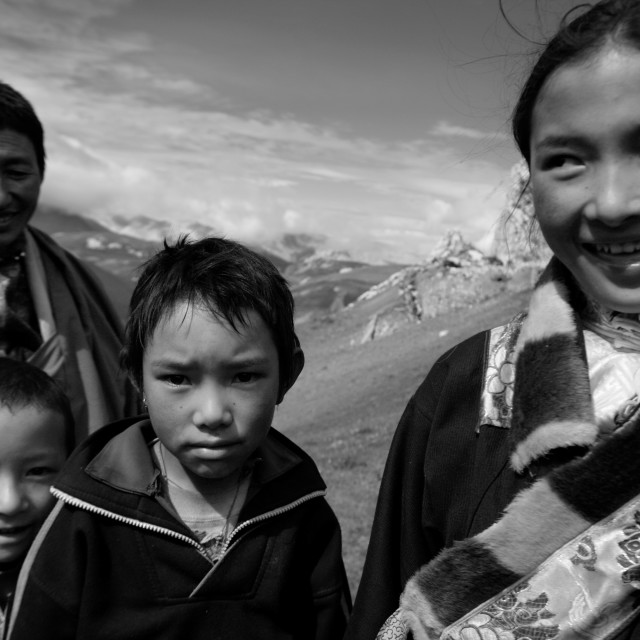 """Nomad family, Tibet"" stock image"