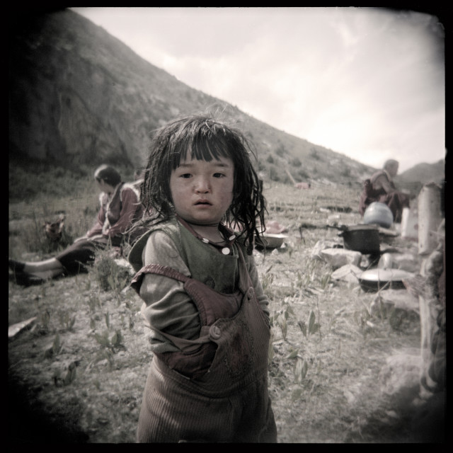 """Nomad girl. Kham, Tibet"" stock image"