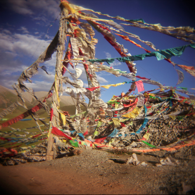 """Prayer flags, Nangchen Gar, Tibet"" stock image"