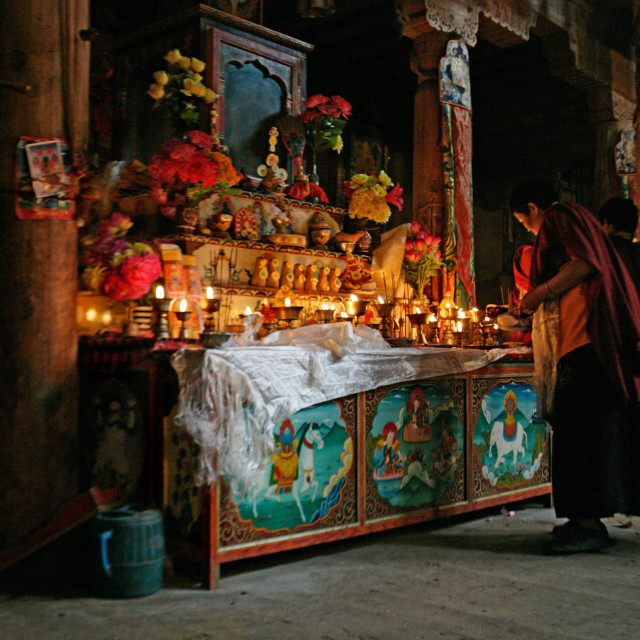 """Nun attending Shrine, Getchok Nunnery, Tibet"" stock image"