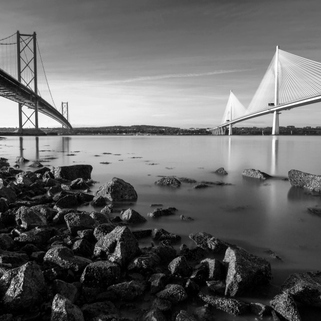 """The Forth Road Bridges (B&W)"" stock image"