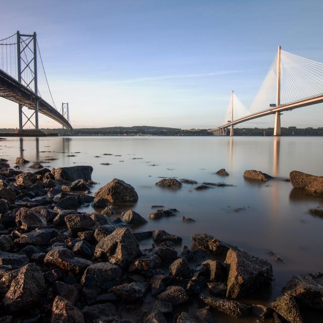 """The Forth Road Bridges"" stock image"