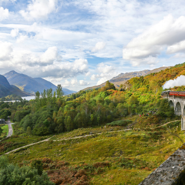 """The Jacobite Express or Hogwarts Express on the Glenfinnan Viaduct"" stock image"