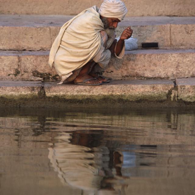 """""""Sadhu on Ganges, Varanasi, India"""" stock image"""