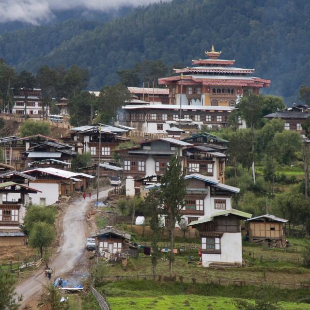 """""""Gangtay Monastery and village, Bhutan Bhutan"""" stock image"""