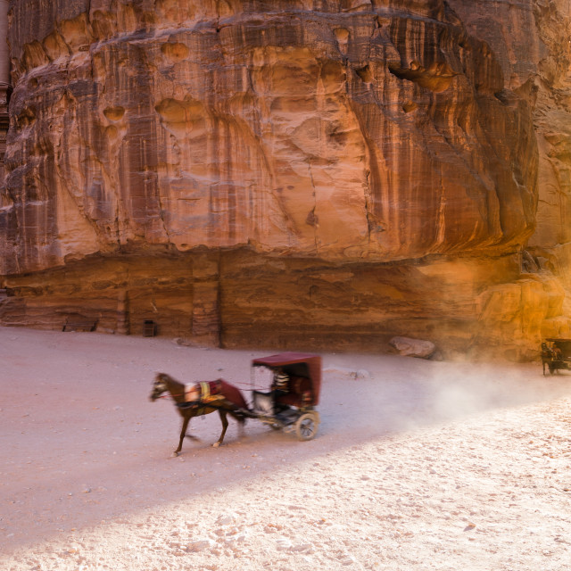 """""""Horse carriage at Petra"""" stock image"""
