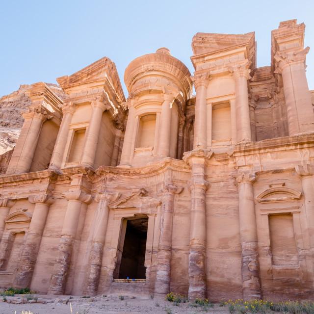 """""""El Deir Monastery in Petra"""" stock image"""