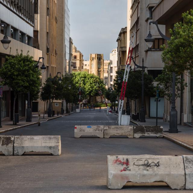 """""""Road blocks in Beirut"""" stock image"""